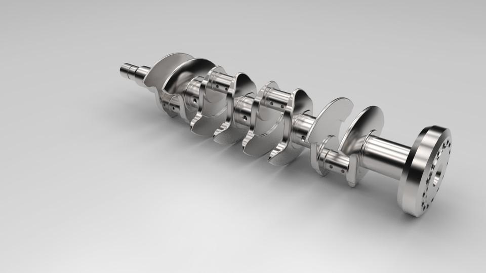Figure 1. Flat-plane crankshaft for a V8 engine (Grabcad, 2015)