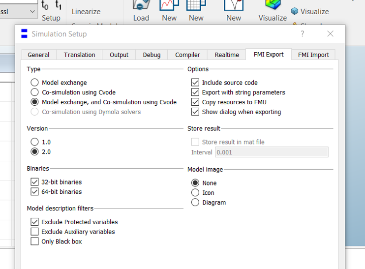 Figure 2: Using the GUI is the simplest way to take an overview of all the FMI export options available in Dymola