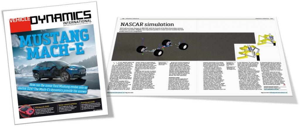Vehicle Dynamics International magazine feature Claytex - NASCAR Simulation
