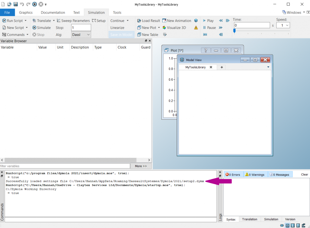 Figure 5 - Setup file loading commands in the command window when launching Dymola