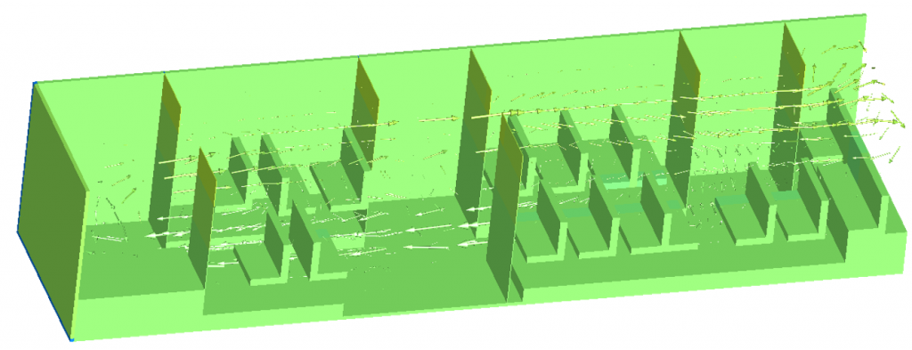Figure 9. Flow visualisation in Dymola for the complete bus cabin