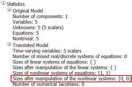 Figure 3.  Translation log of example in Figure 2 where the inverse functions are provided resulting in  Nonlinear systems being set to 0.
