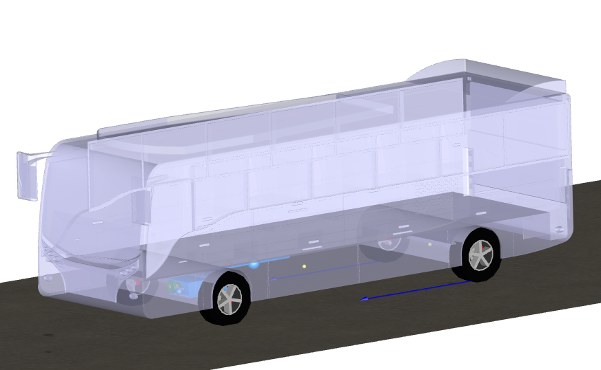 Figure 2. Built-in visualisation of the bus, bus subsystems and road during an energy usage experiment. Horizontal arrows at each rear wheel show the contact patch traction force.