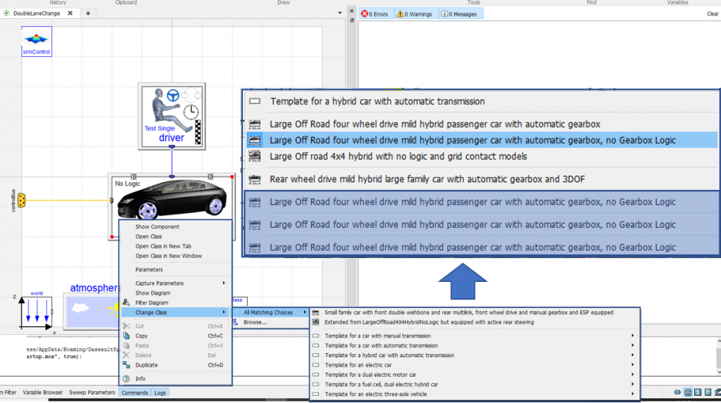 Figure 3. Screenshot of the dangers of having multiple classes with identical descriptions in your libraries, particularly when redeclaring Modelica classes.