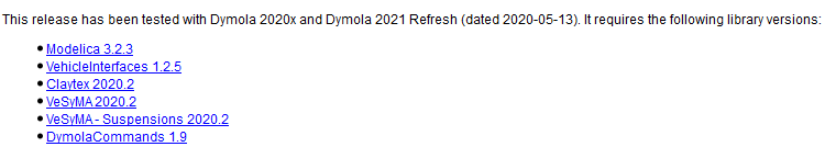Figure 4: For all Claytex libraries, the Release Notes list the Dymola versions the libraries have been tested and developed for.