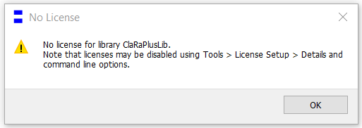 Figure 2: A dialog box such as this pops up indicating an unfulfilled license requirement on attempting to load a library.