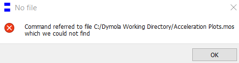 Figure 2: Missing plot script file error message in Dymola
