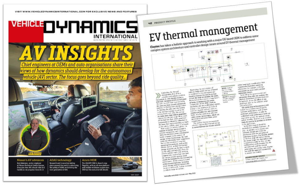 Vehicle Dynamics International magazine feature Claytex - EV thermal management