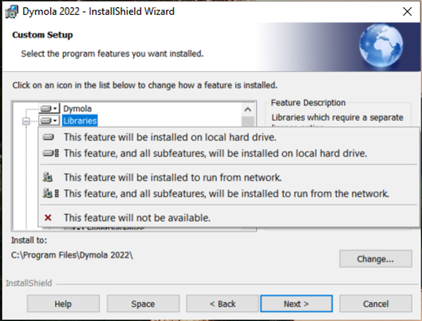 Figure 3: Drop down menu for library installation options