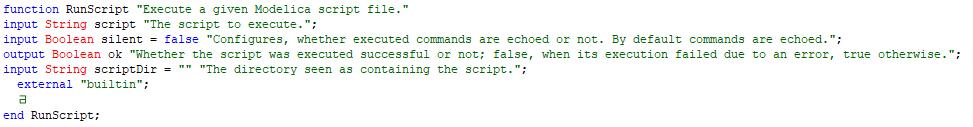 Figure 1: The DymolaCommands.SimulatorAPI.RunScript function
