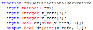 Figure 3.  Inputs and outputs of the fmiGetDirectionalDerivative() function