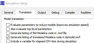 Figure 3.  Selecting Generate listing of translated Modelica code dsmodel.mof